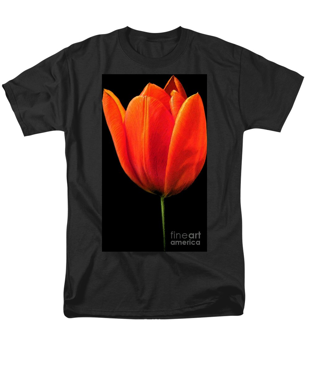 Tulips Men's T-Shirt (Regular Fit) featuring the photograph Tulip by Amanda Barcon