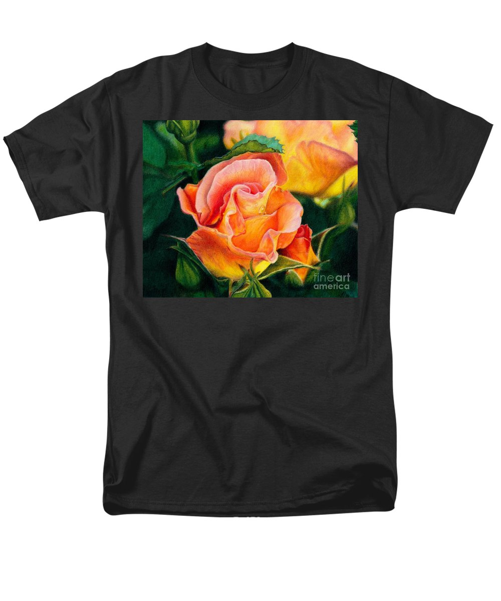 Coloured Pencil Men's T-Shirt (Regular Fit) featuring the painting A Rose For Nan by Amanda Jensen