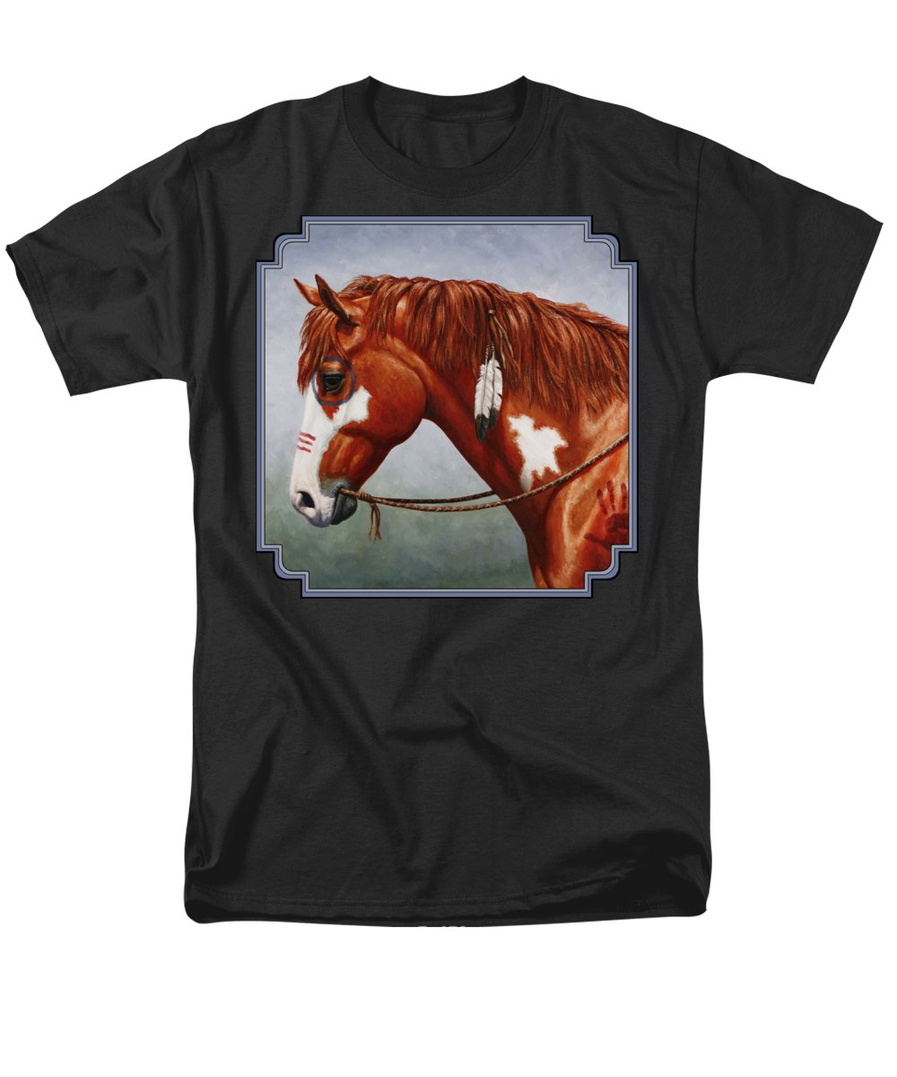 Horse Men's T-Shirt (Regular Fit) featuring the painting Native American War Horse by Crista Forest