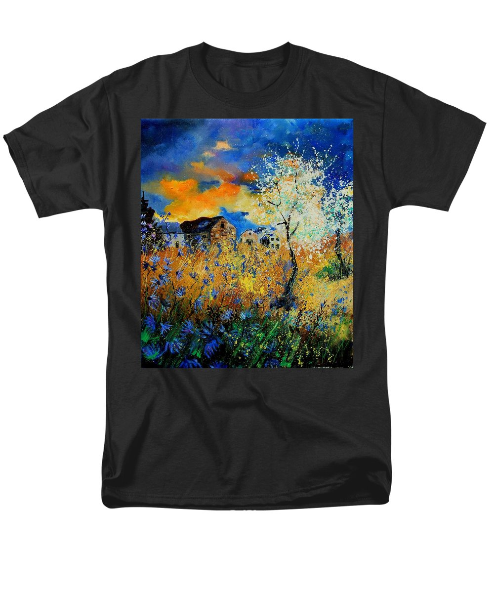 Poppies Men's T-Shirt (Regular Fit) featuring the painting Blooming Trees by Pol Ledent