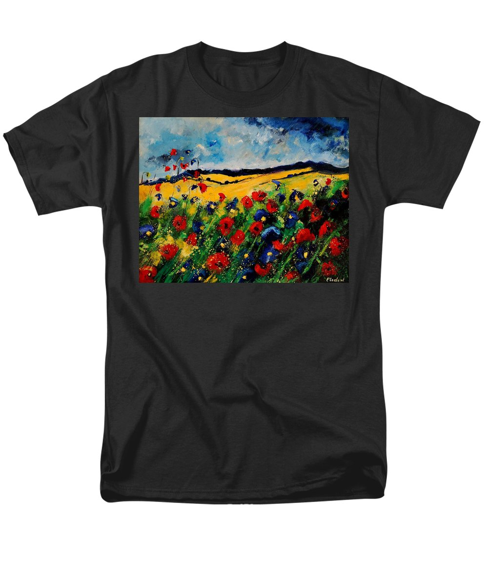 Poppies Men's T-Shirt (Regular Fit) featuring the painting Blue And Red Poppies 45 by Pol Ledent