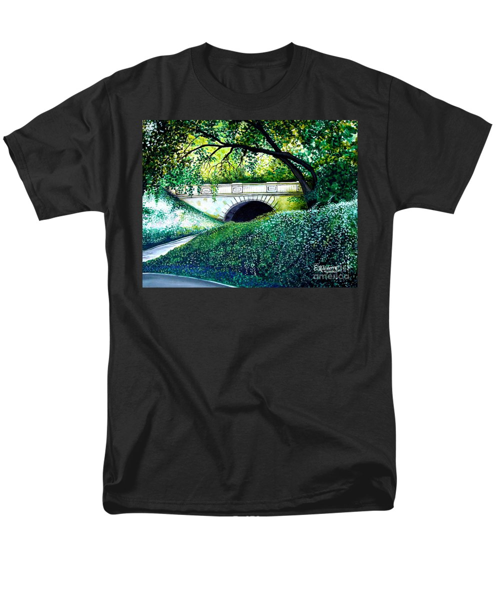 Landscape Men's T-Shirt (Regular Fit) featuring the painting Bridge to New York by Elizabeth Robinette Tyndall