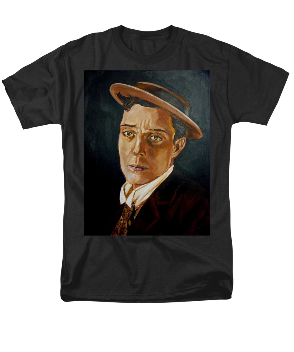 Comedy Men's T-Shirt (Regular Fit) featuring the painting Buster Keaton tribute by Bryan Bustard