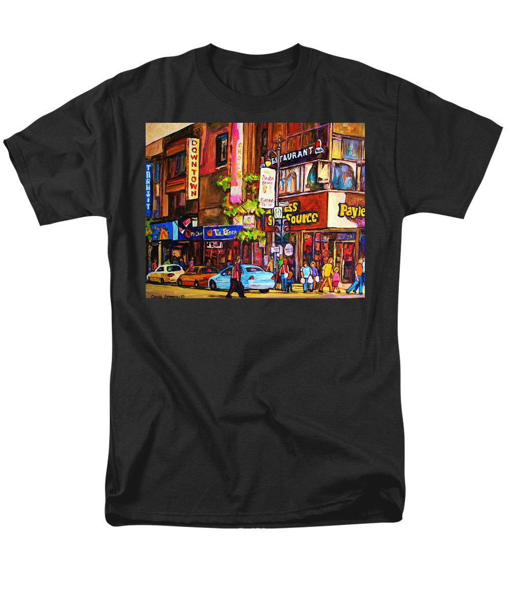 Cityscape Men's T-Shirt (Regular Fit) featuring the painting Busy Downtown Street by Carole Spandau