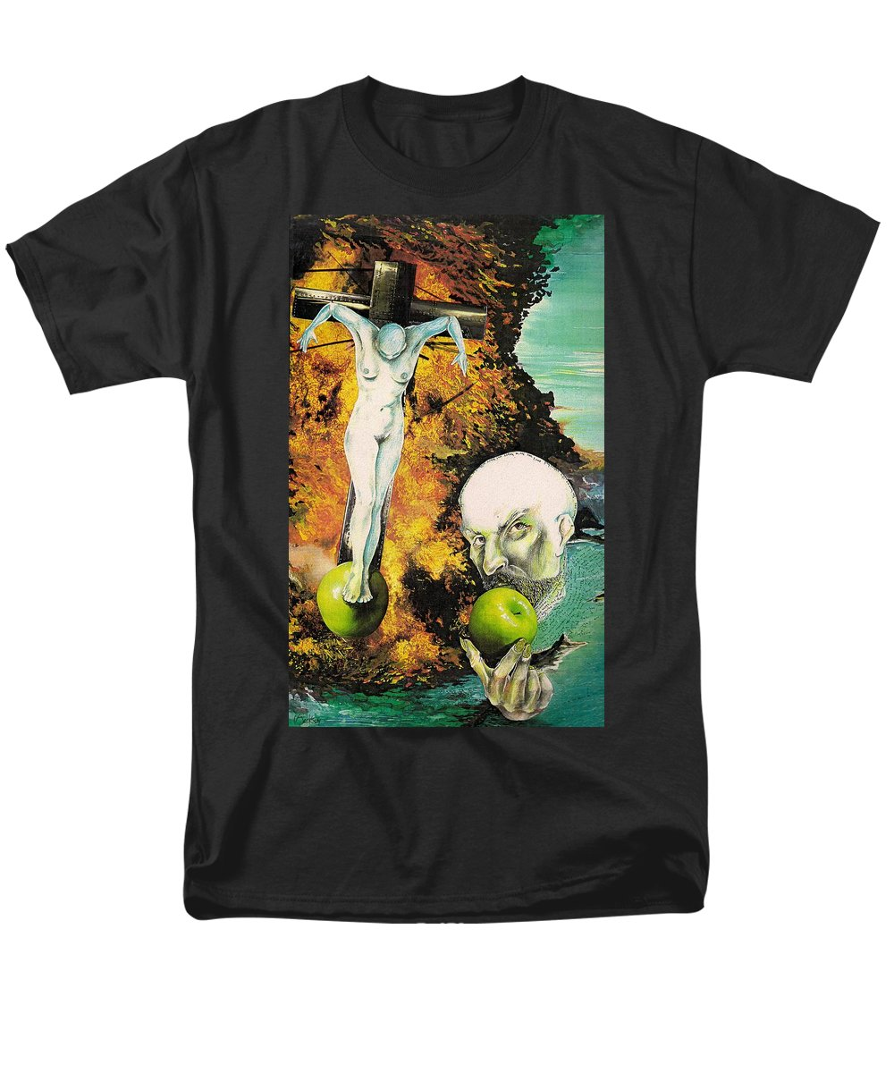 Lust Temptation Crucifix Hell Inferno Heaven Water Woman Sex Lust Apple Fire Men's T-Shirt (Regular Fit) featuring the mixed media But for Lust... by Veronica Jackson
