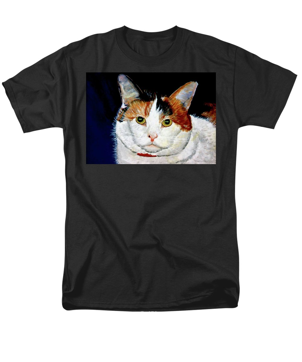 Cat Men's T-Shirt (Regular Fit) featuring the painting Buttons by Stan Hamilton