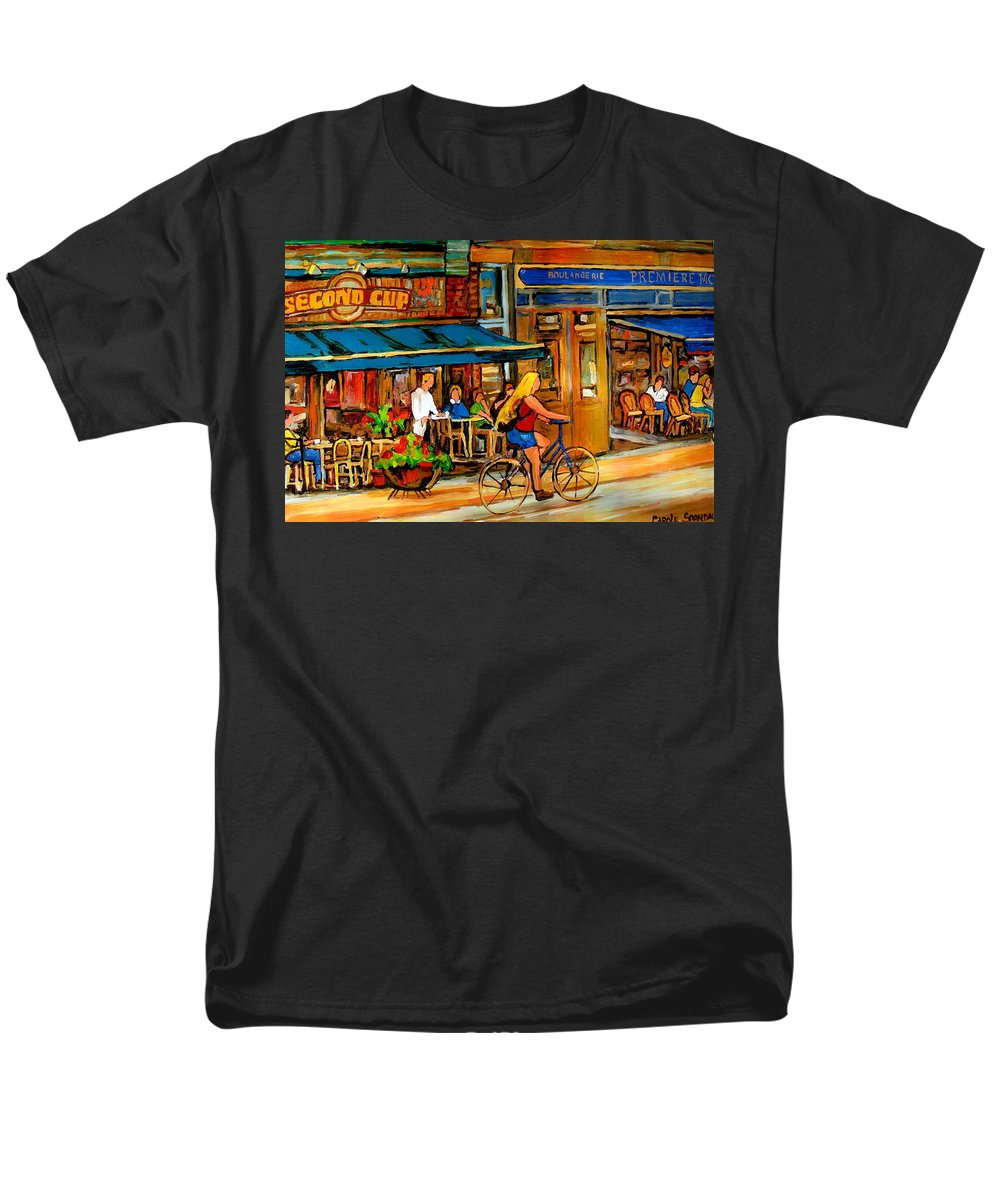 Cafes Men's T-Shirt (Regular Fit) featuring the painting Cafes With Blue Awnings by Carole Spandau