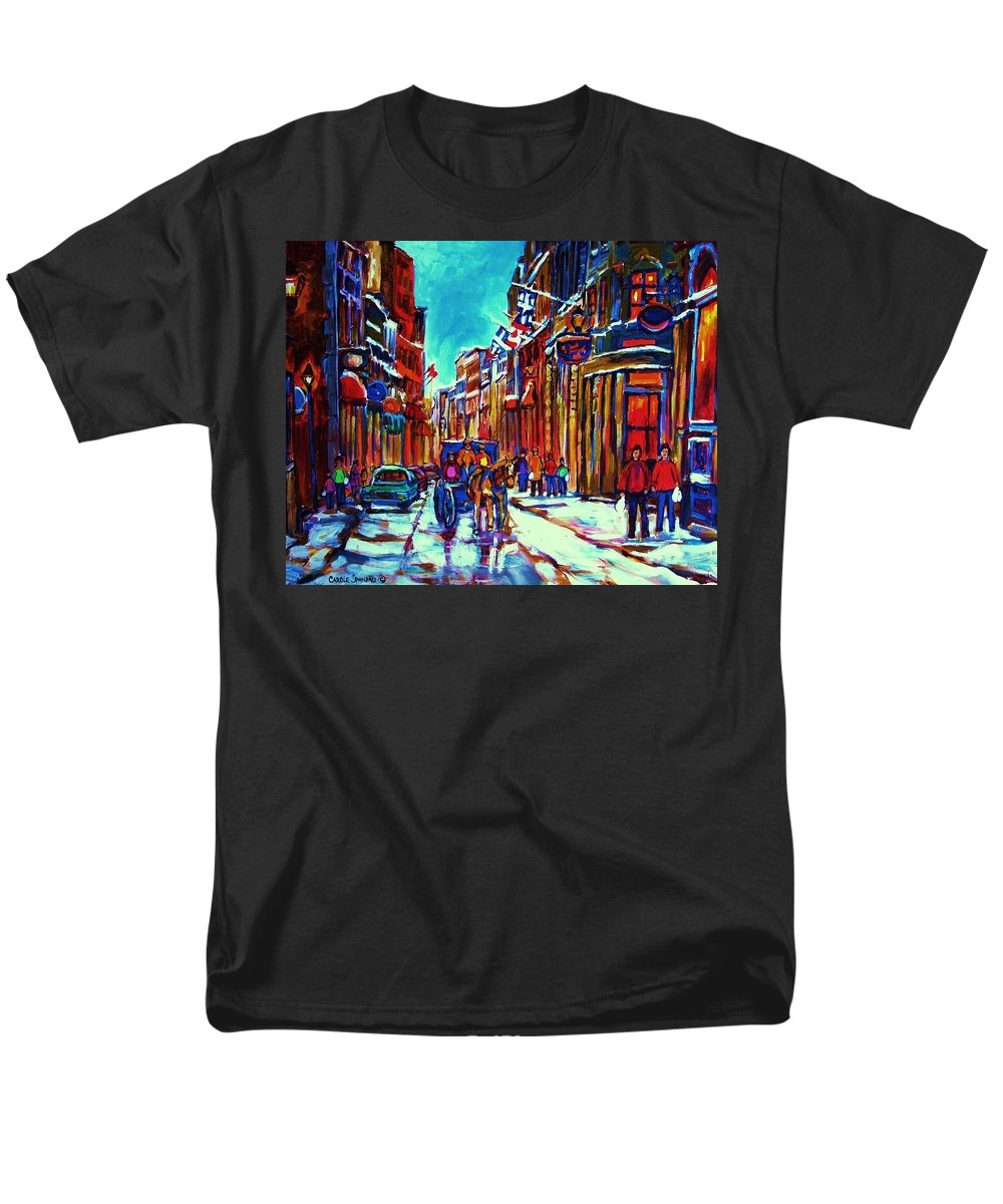 Old Montreal Men's T-Shirt (Regular Fit) featuring the painting Carriage Ride Through the Old City by Carole Spandau