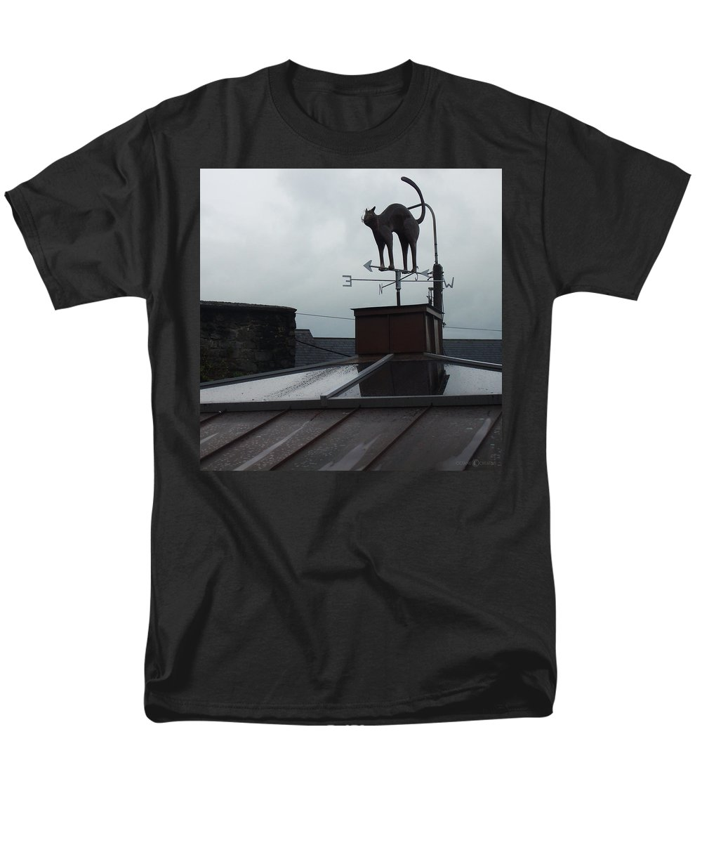 Cat Men's T-Shirt (Regular Fit) featuring the photograph Cat on a Cool Tin Roof by Tim Nyberg