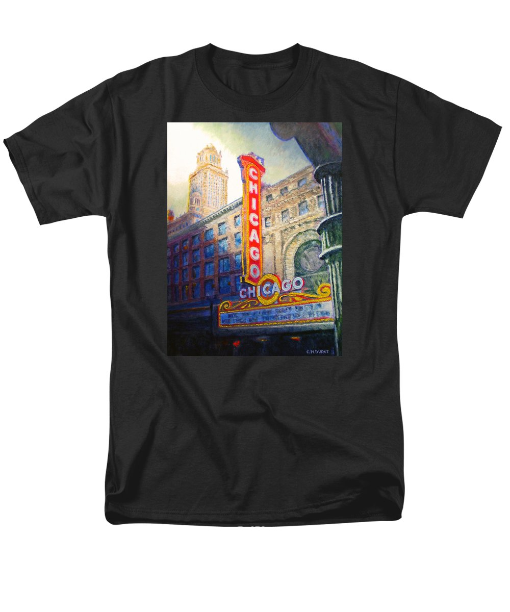 Chicago Men's T-Shirt (Regular Fit) featuring the painting Chicago Theater by Michael Durst