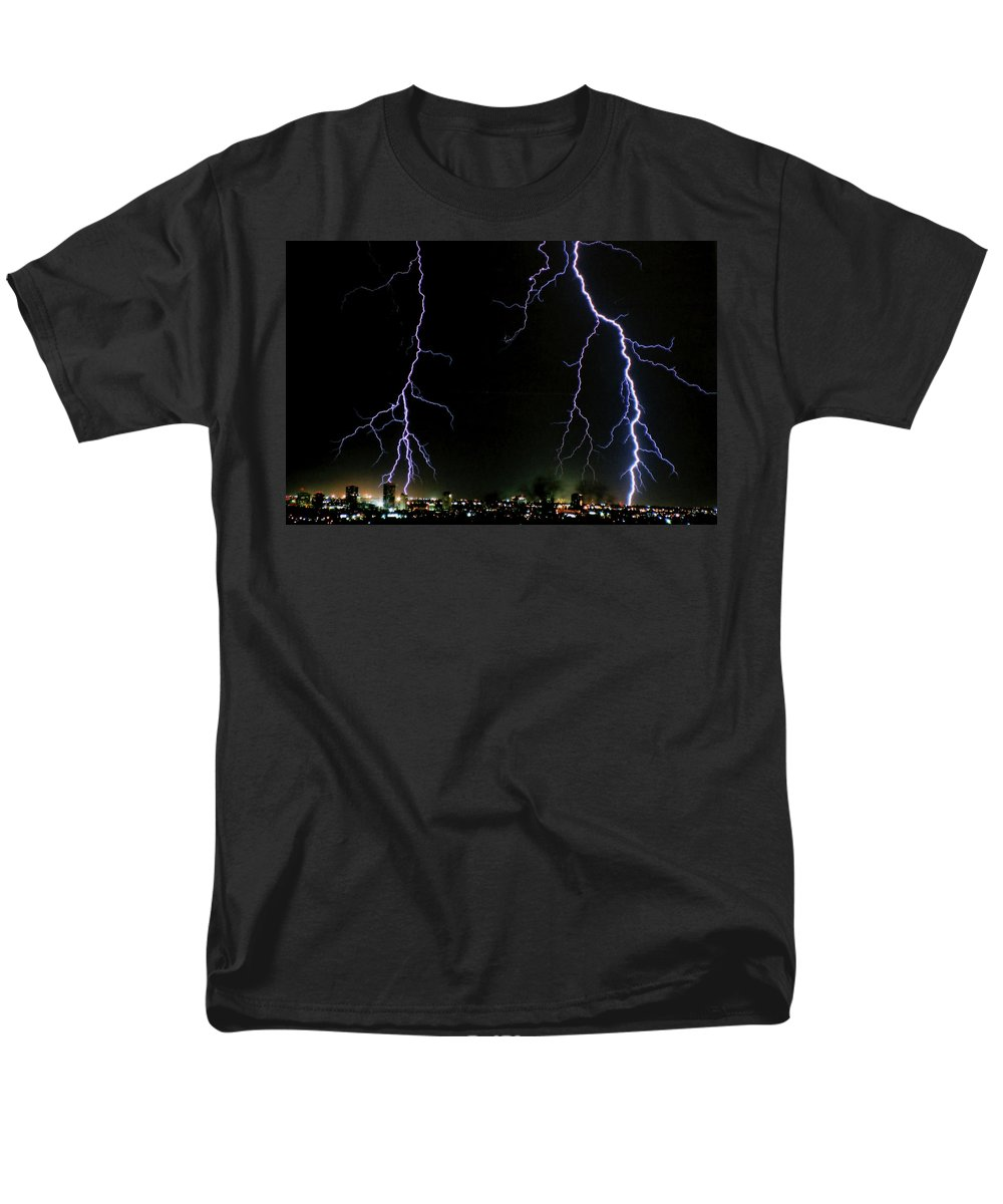 Arizona Men's T-Shirt (Regular Fit) featuring the photograph City Lights by Cathy Franklin