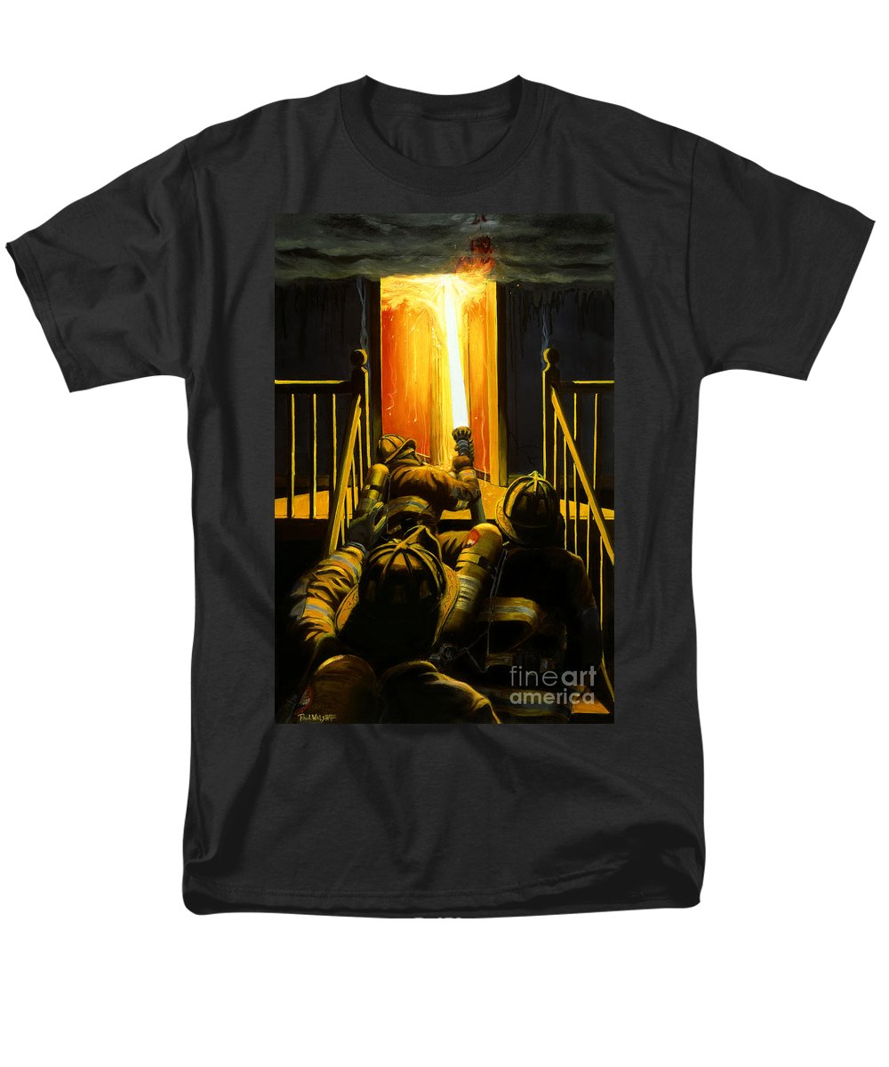 Firefighting Men's T-Shirt (Regular Fit) featuring the painting Devil's Stairway by Paul Walsh