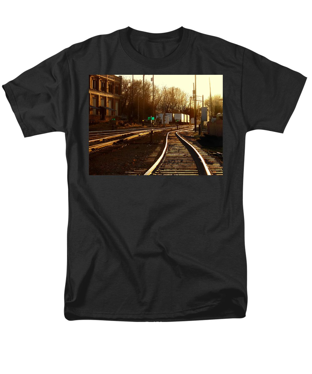 Landscape Men's T-Shirt (Regular Fit) featuring the photograph Down the Right track 2 by Steve Karol