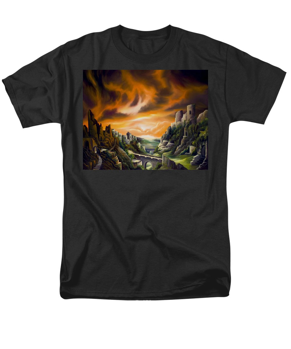 Ruins; Cityscape; Landscape; Nightmare; Horror; Power; Roman; City; World; Lost Empire; Dramatic; Sky; Red; Blue; Green; Scenic; Serene; Color; Vibrant; Contemporary; Greece; Stone; Rocks; Castle; Fantasy; Fire; Yellow; Tree; Bush Men's T-Shirt (Regular Fit) featuring the painting DualLands by James Christopher Hill