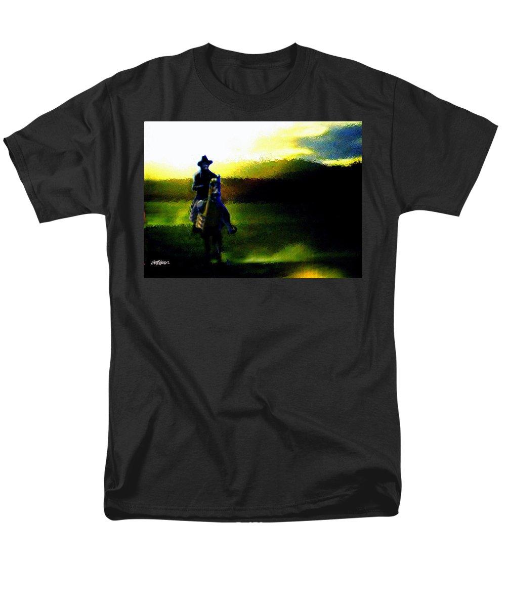 Dusk Men's T-Shirt (Regular Fit) featuring the digital art Dusk Rider by Seth Weaver