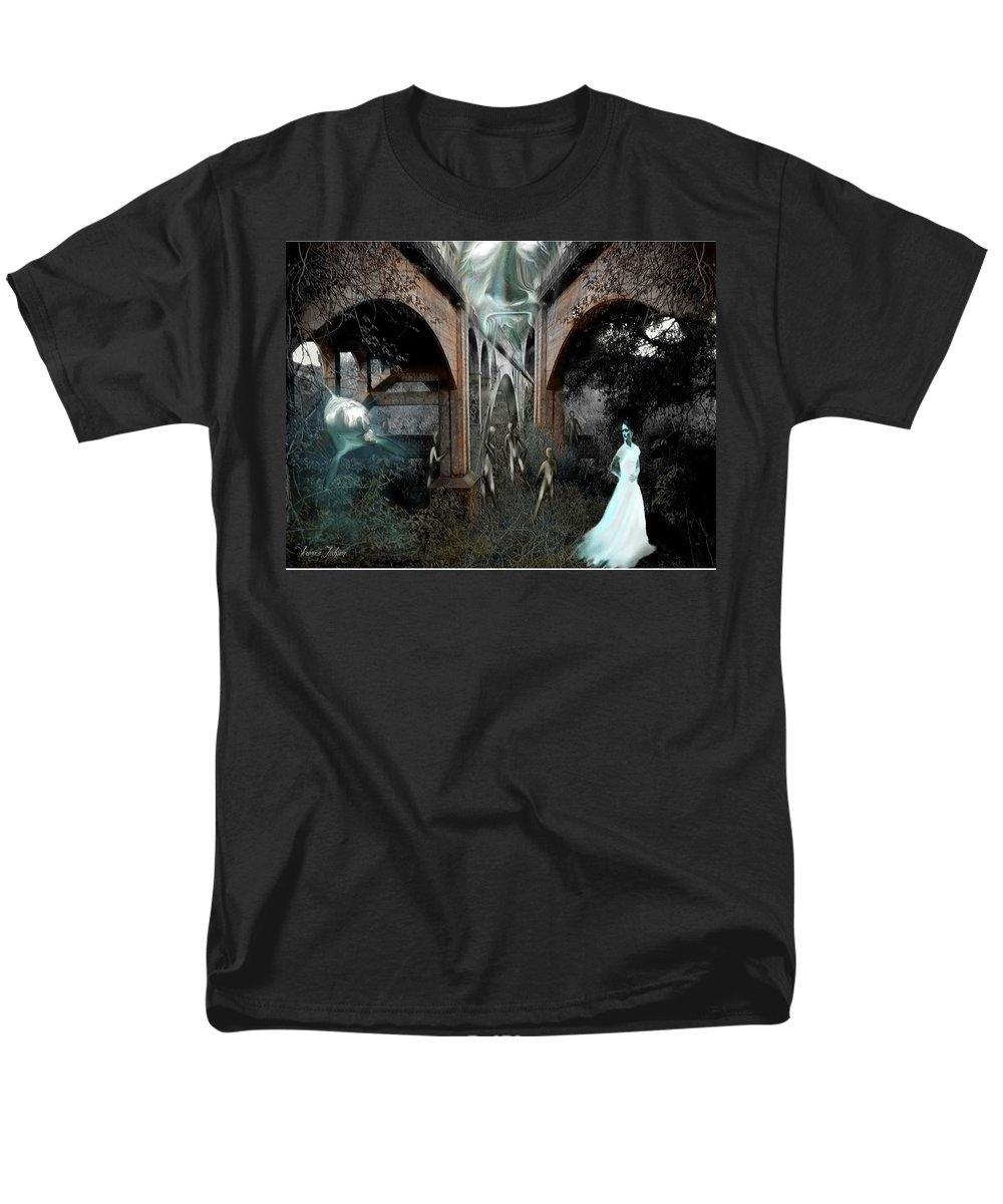Eden Surreal Creatures Bridges Dreaming Men's T-Shirt (Regular Fit) featuring the digital art Eden by Veronica Jackson