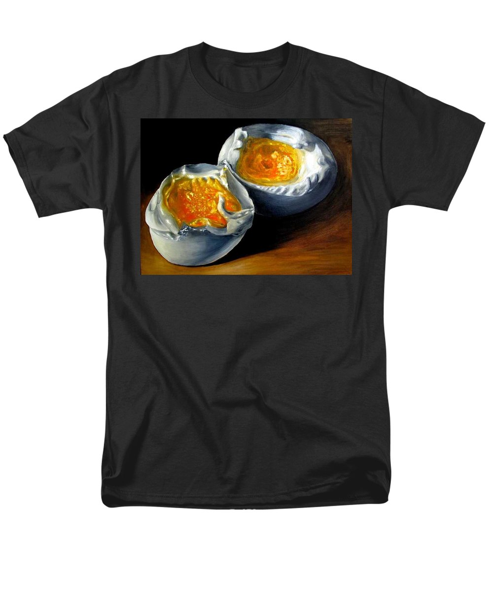 Eggs Men's T-Shirt (Regular Fit) featuring the painting Eggs contemporary oil painting on canvas by Natalja Picugina