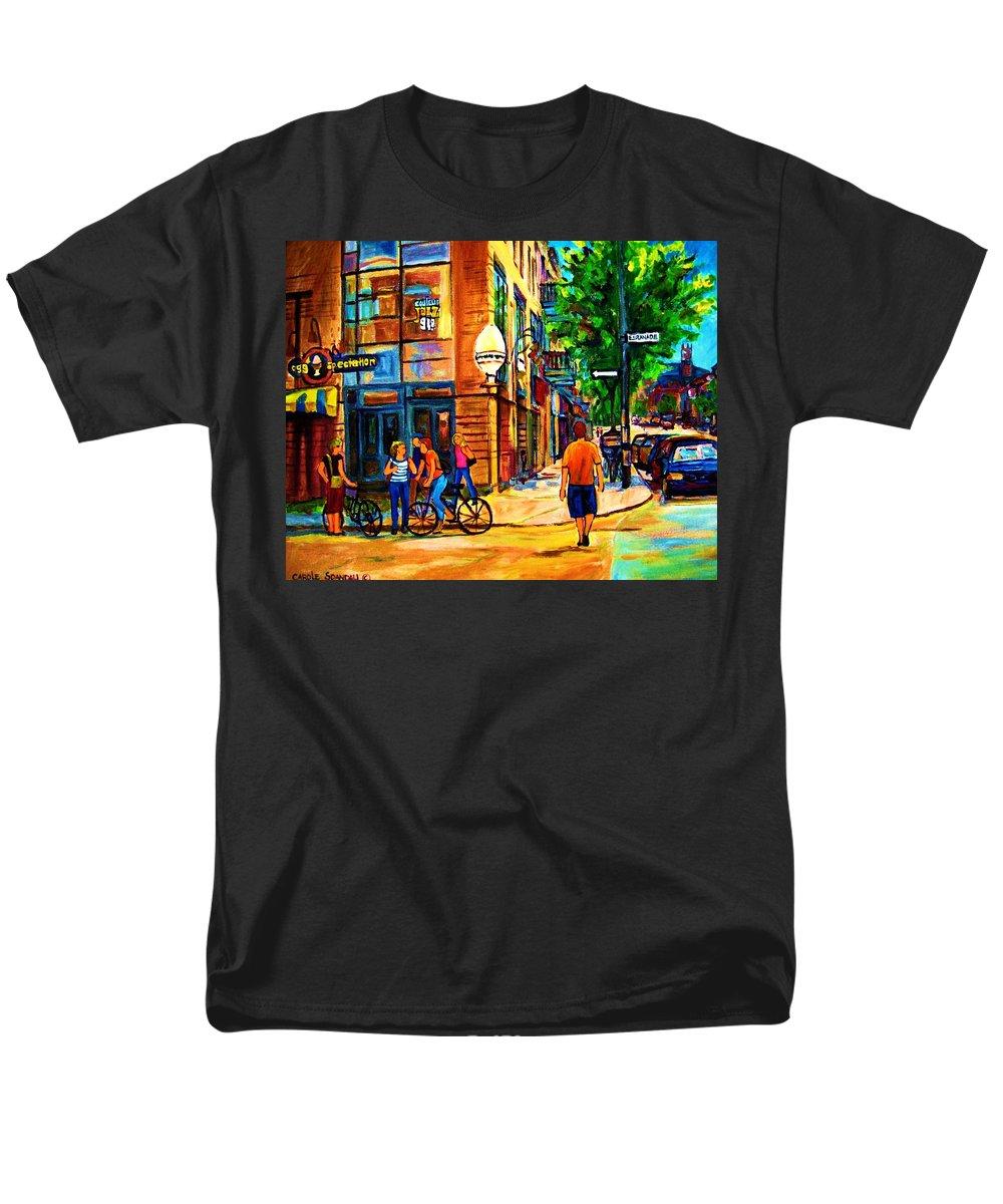 Eggspectation Cafe On Esplanade Men's T-Shirt (Regular Fit) featuring the painting Eggspectation Cafe On Esplanade by Carole Spandau
