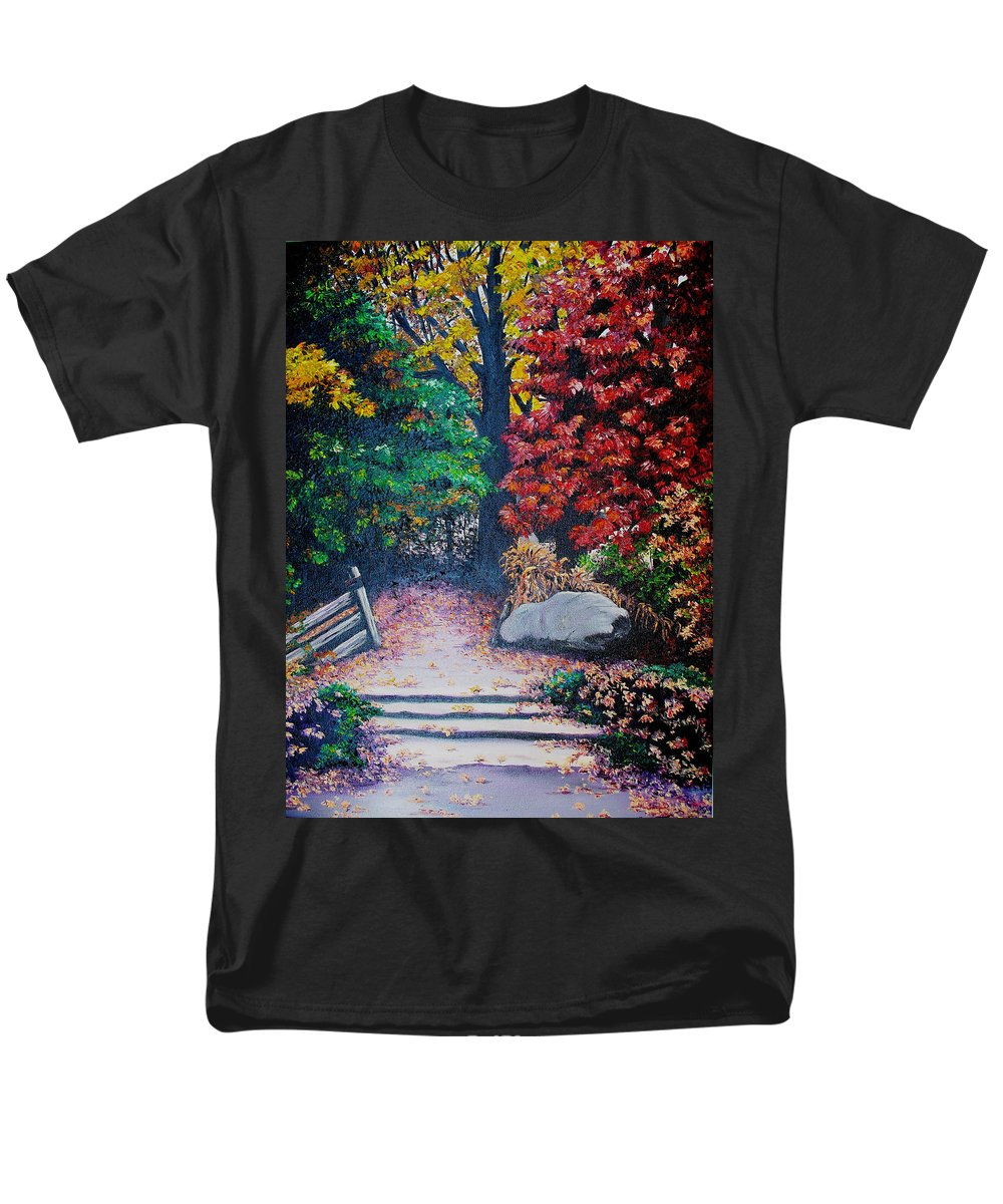 A N Original Painting Of An Autumn Scene In The Gateneau In Quebec Men's T-Shirt (Regular Fit) featuring the painting Fall In Quebec Canada by Karin Dawn Kelshall- Best