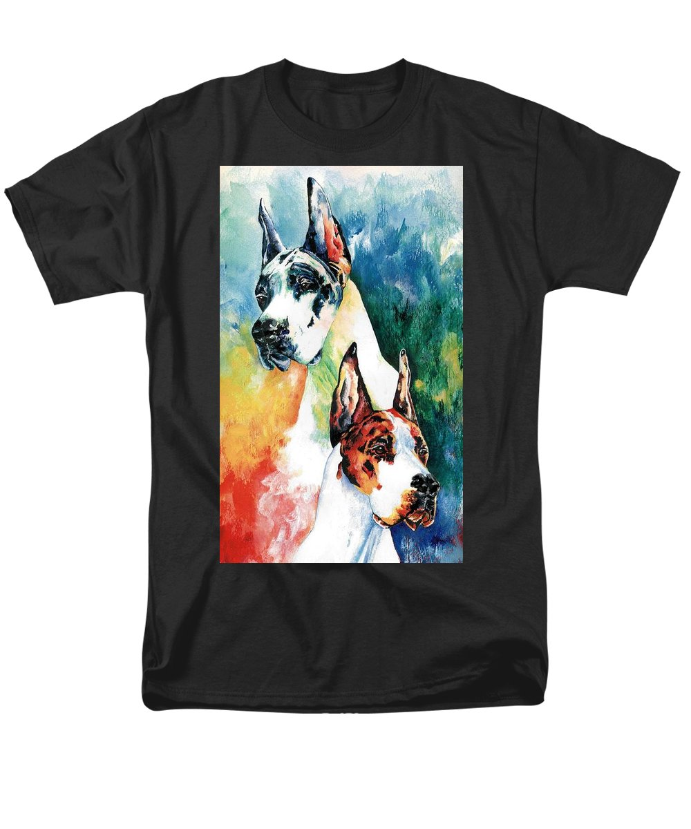 Great Dane Men's T-Shirt (Regular Fit) featuring the painting Fire And Ice by Kathleen Sepulveda