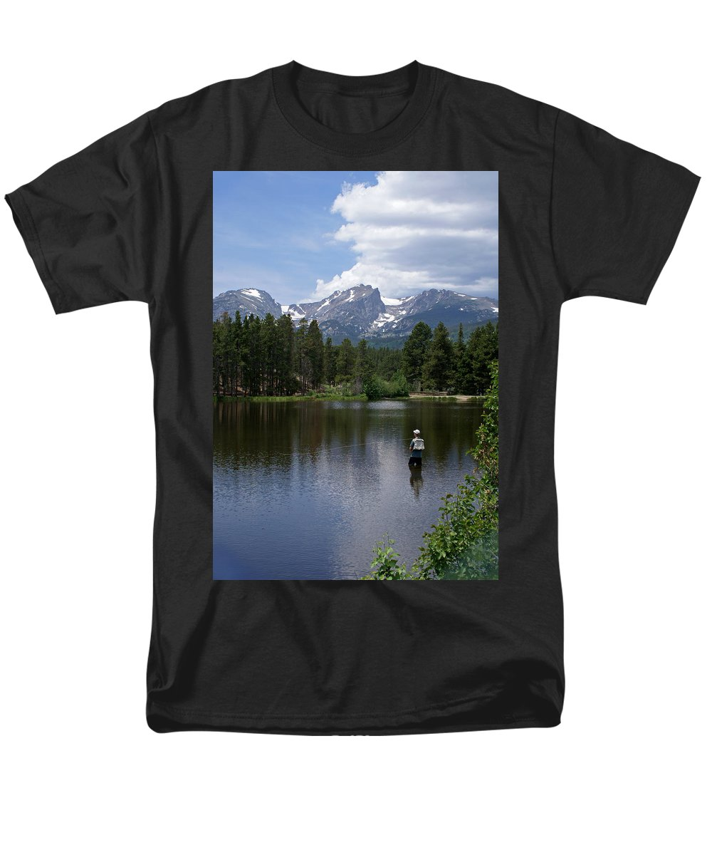Fishing Men's T-Shirt (Regular Fit) featuring the photograph Fishing in Colorado by Heather Coen