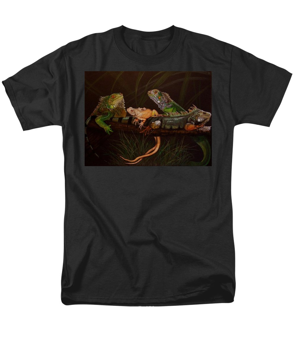 Iguana Men's T-Shirt (Regular Fit) featuring the drawing Full House by Barbara Keith