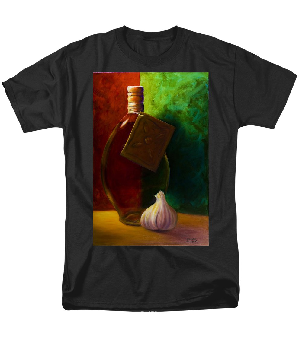 Shannon Grissom Men's T-Shirt (Regular Fit) featuring the painting Garlic And Oil by Shannon Grissom