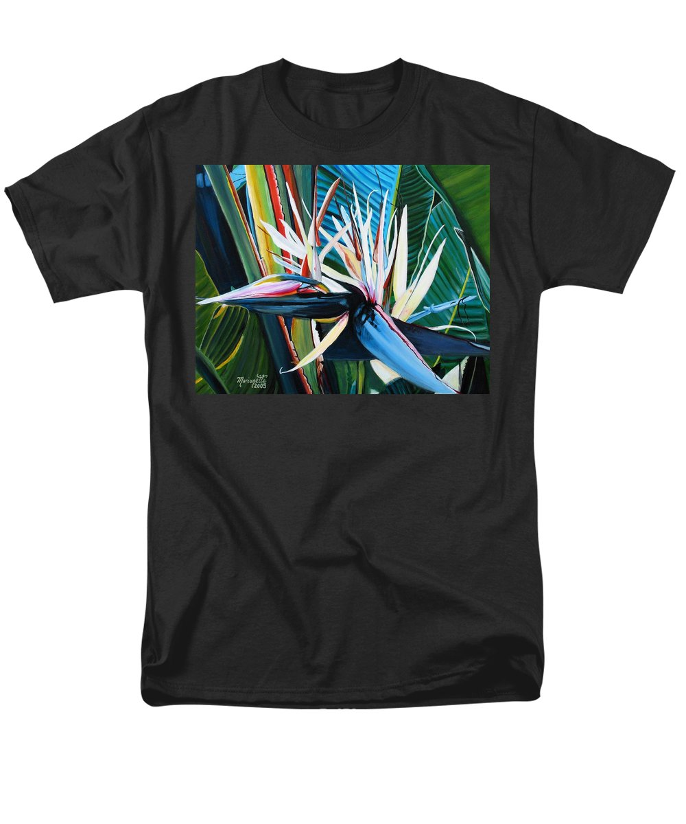 Bird Men's T-Shirt (Regular Fit) featuring the painting Giant Bird of Paradise by Marionette Taboniar
