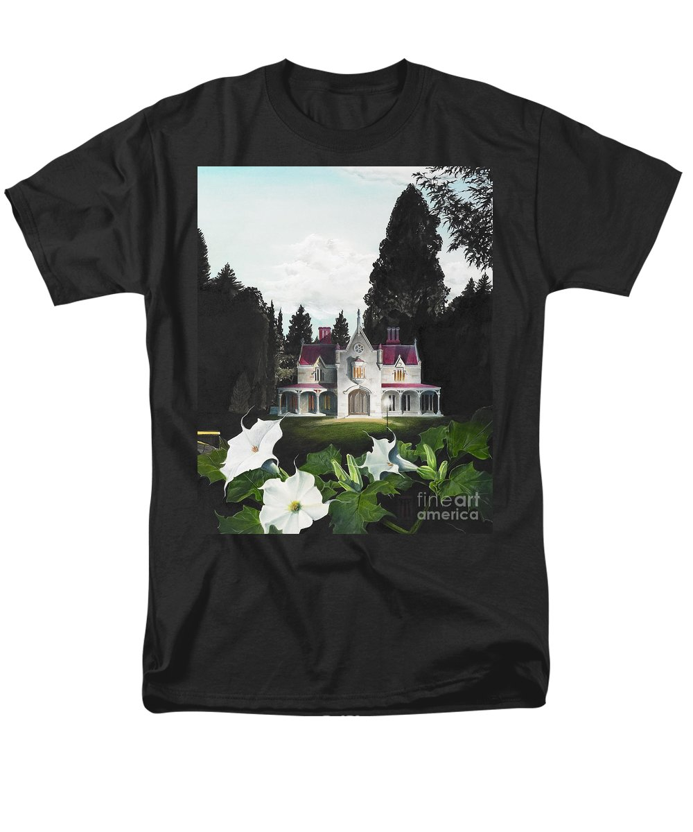 Fantasy Men's T-Shirt (Regular Fit) featuring the painting Gothic Country House Detail From Night Bridge by Melissa A Benson