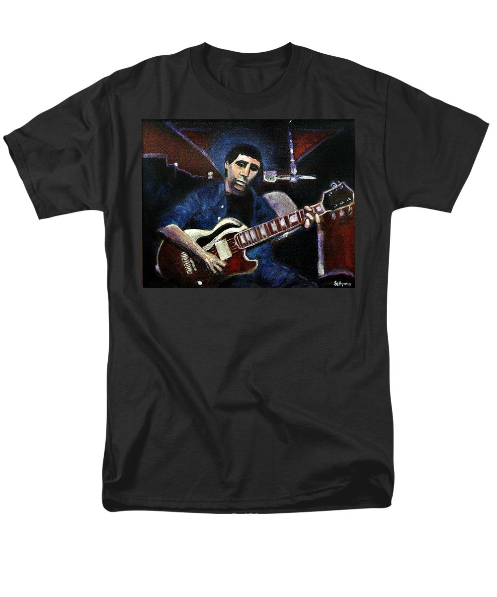 Shining Guitar Men's T-Shirt (Regular Fit) featuring the painting Graceland Tribute to Paul Simon by Seth Weaver