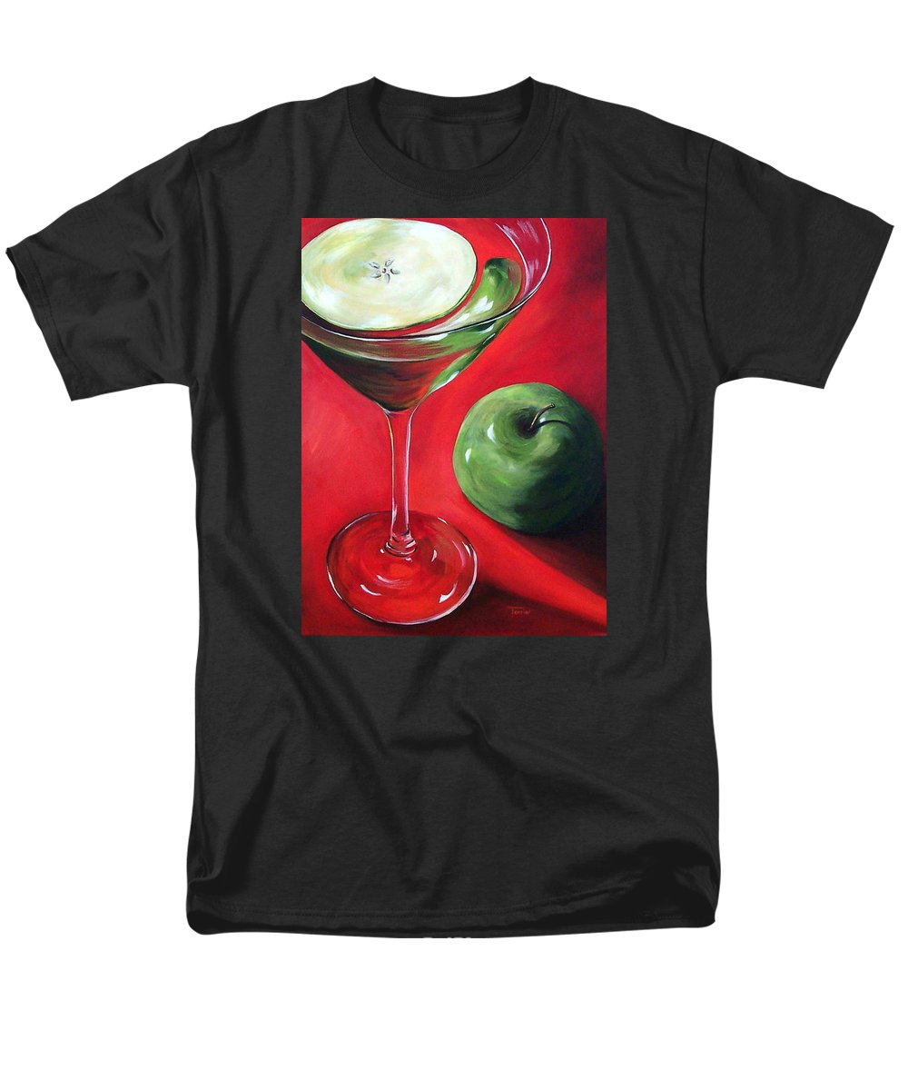 Martini Men's T-Shirt (Regular Fit) featuring the painting Green Apple Martini by Torrie Smiley