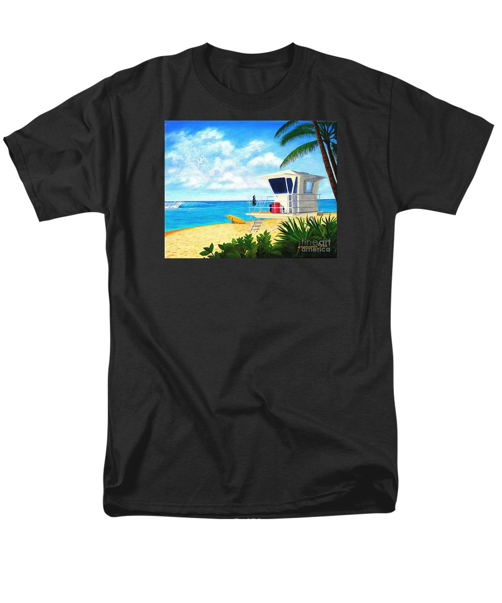 Hawaii Men's T-Shirt (Regular Fit) featuring the painting Hawaii North Shore Banzai Pipeline by Jerome Stumphauzer