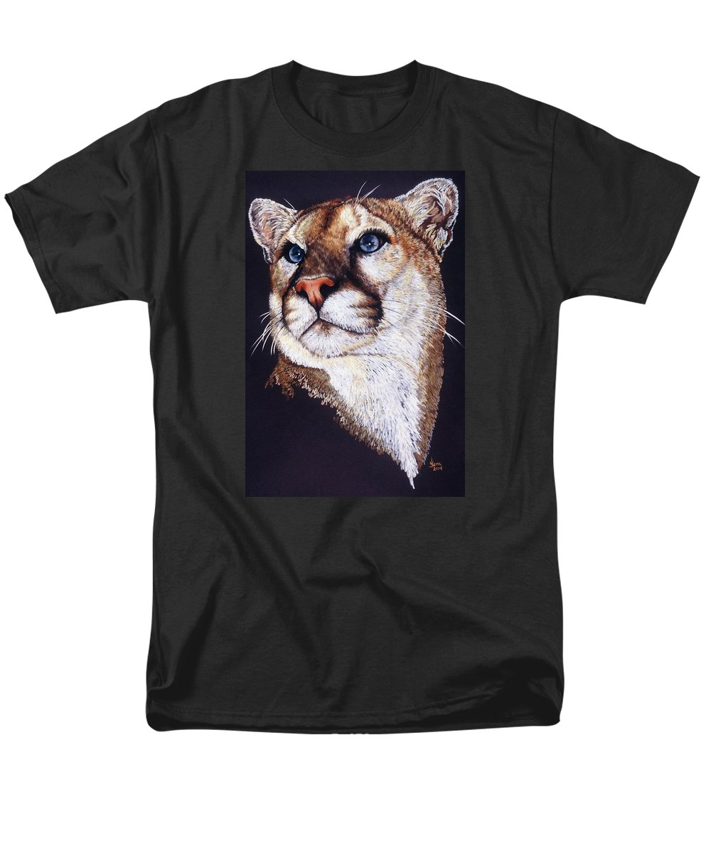 Cougar Men's T-Shirt (Regular Fit) featuring the drawing Intense by Barbara Keith