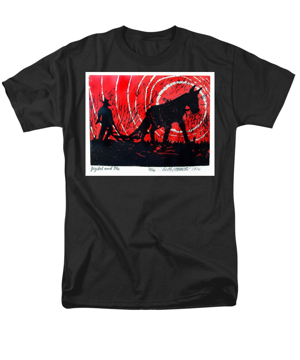 Jezebel And Me Men's T-Shirt (Regular Fit) featuring the relief Jezebel And Me by Seth Weaver