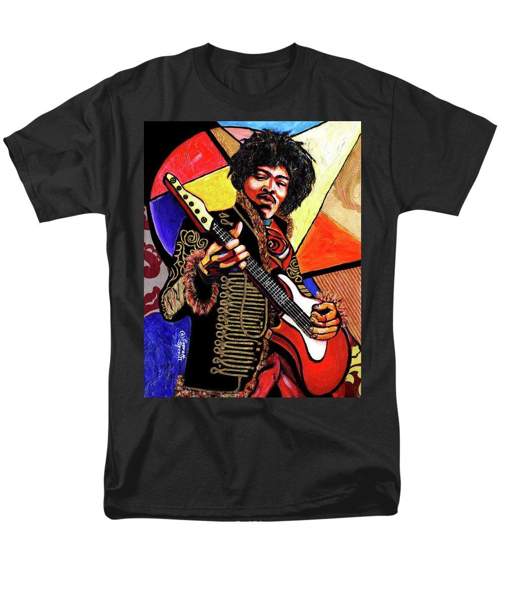 Everett Spruill Men's T-Shirt (Regular Fit) featuring the mixed media Jimi Hendrix by Everett Spruill