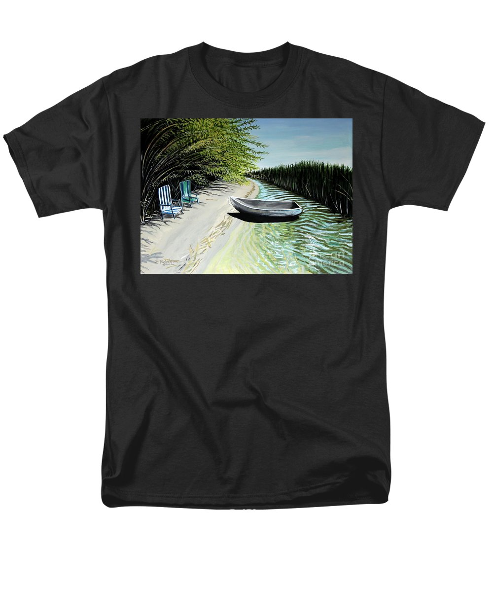 Boat Men's T-Shirt (Regular Fit) featuring the painting Just You and I by Elizabeth Robinette Tyndall
