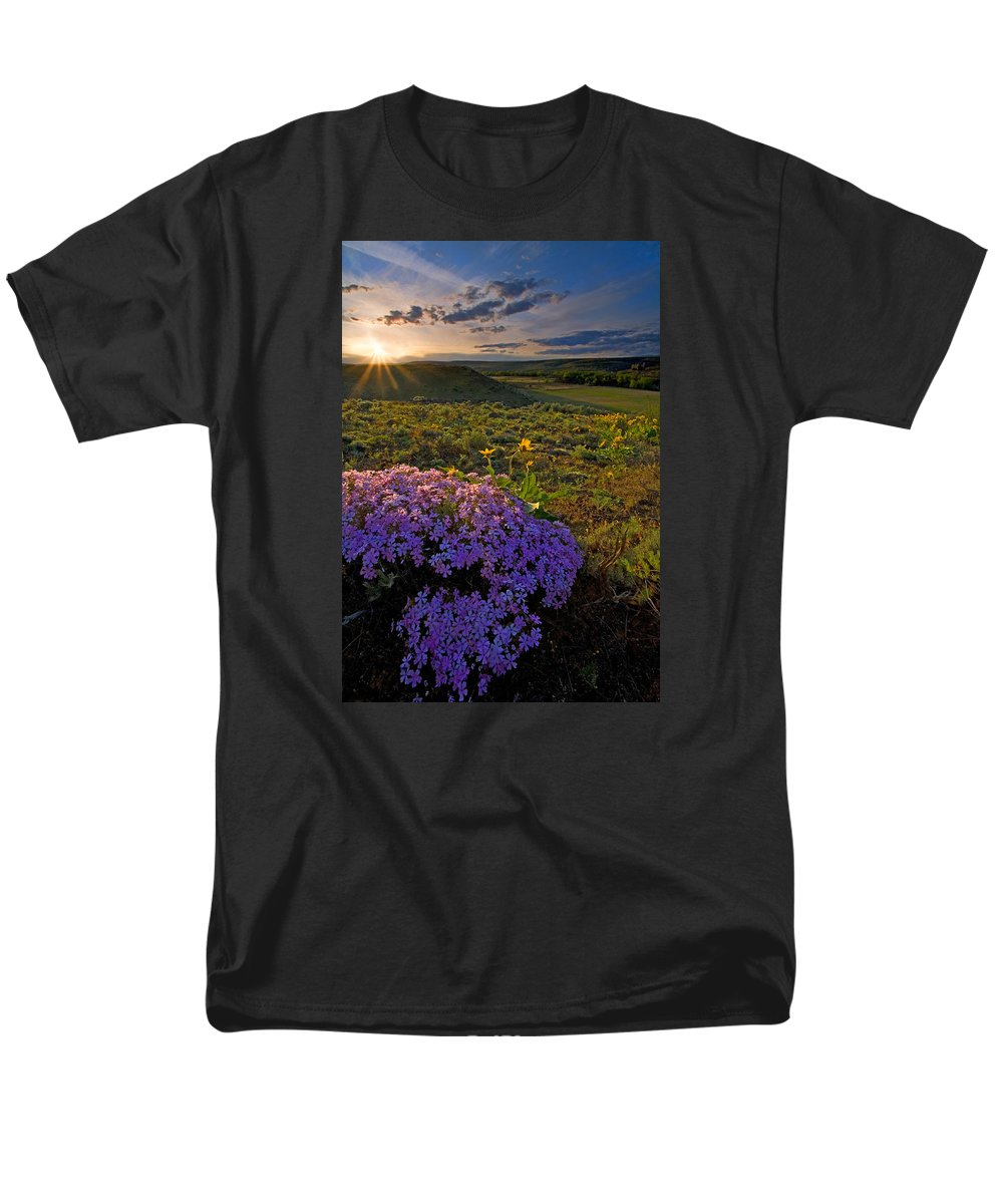 Wildflowers Men's T-Shirt (Regular Fit) featuring the photograph Last Light of Spring by Mike Dawson