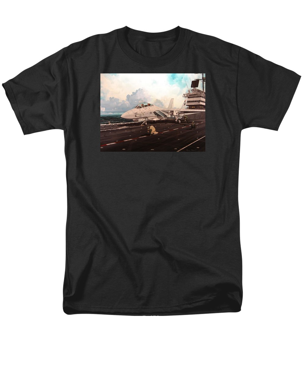 Military Men's T-Shirt (Regular Fit) featuring the painting Launch The Alert 5 by Marc Stewart