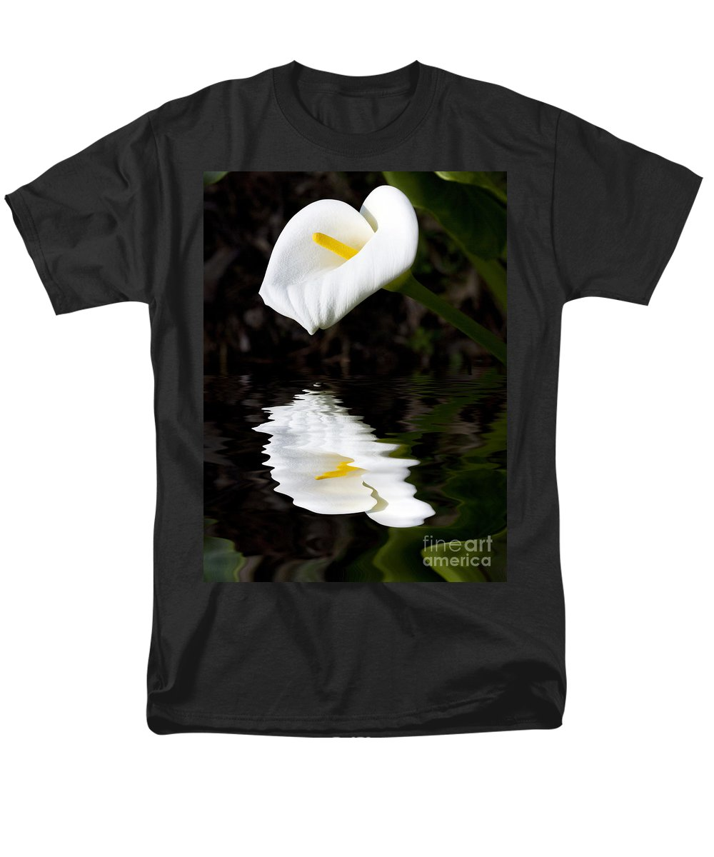 Lily Reflection Flora Flower Men's T-Shirt (Regular Fit) featuring the photograph Lily Reflection by Avalon Fine Art Photography