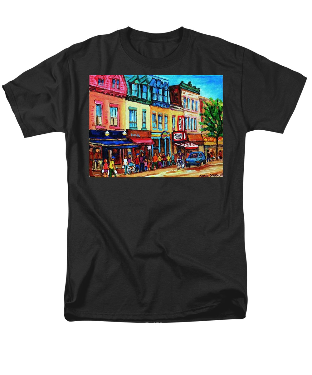 Cityscape Men's T-Shirt (Regular Fit) featuring the painting Lineup for Smoked Meat Sandwiches by Carole Spandau