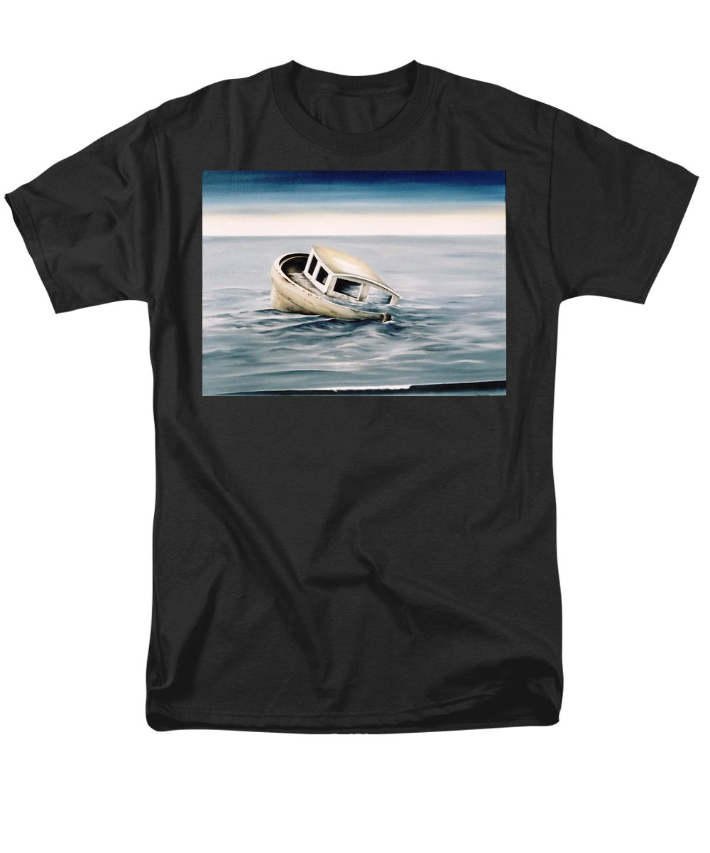 Seascape Men's T-Shirt (Regular Fit) featuring the painting Lost at Sea contd by Mark Cawood
