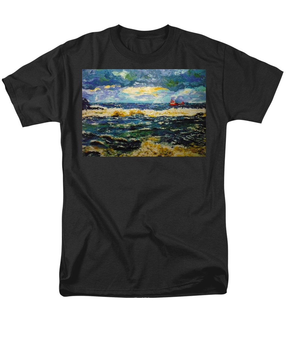 Sea Men's T-Shirt (Regular Fit) featuring the painting Mad Sea by Ericka Herazo