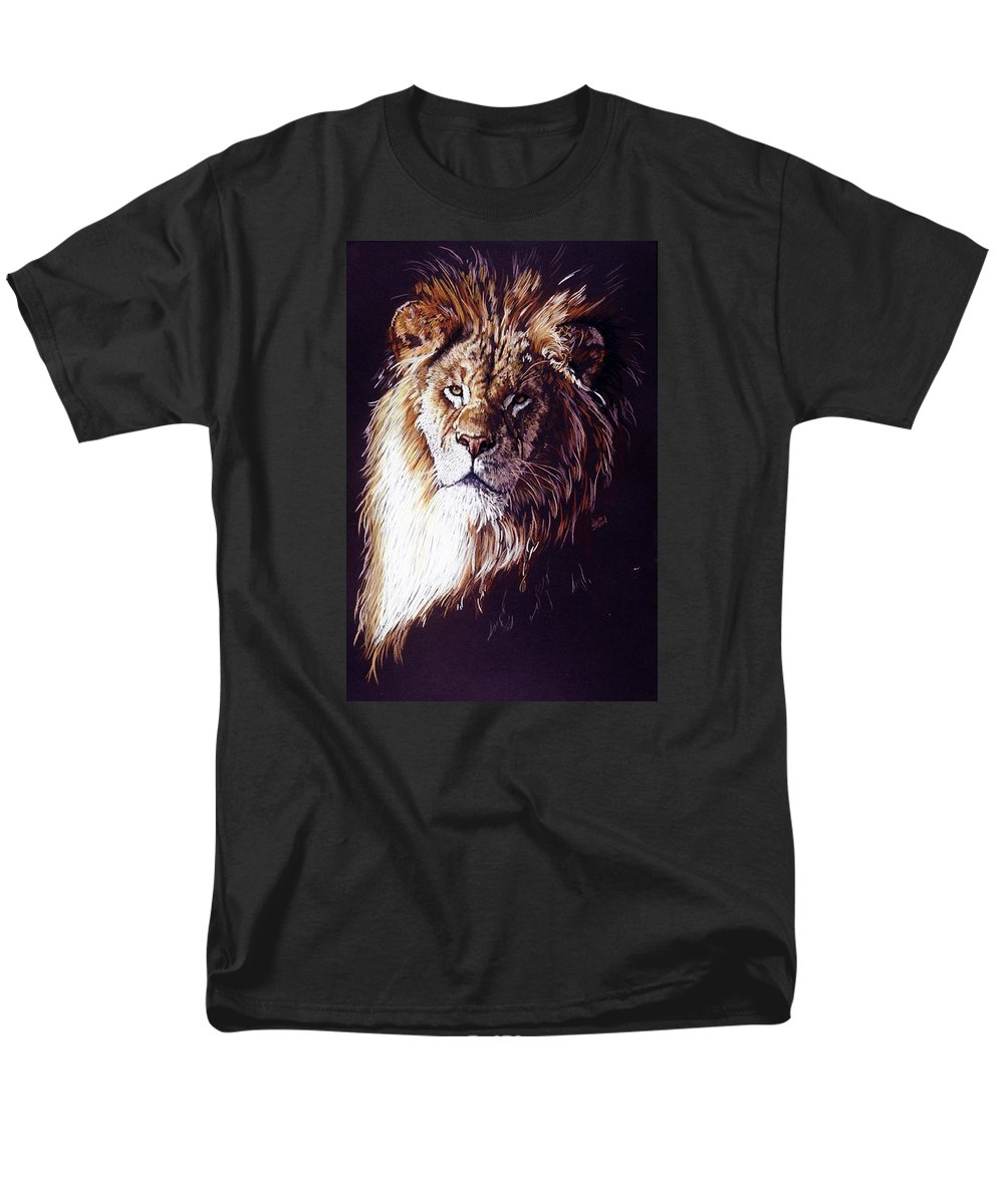 Lion Men's T-Shirt (Regular Fit) featuring the drawing Maestro by Barbara Keith