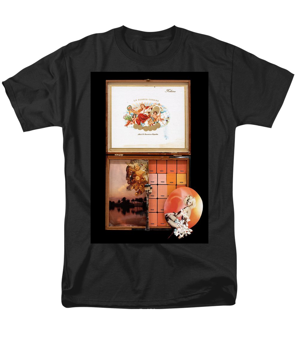 Cigar Box Men's T-Shirt (Regular Fit) featuring the mixed media Maybe Yes by Jaime Becker