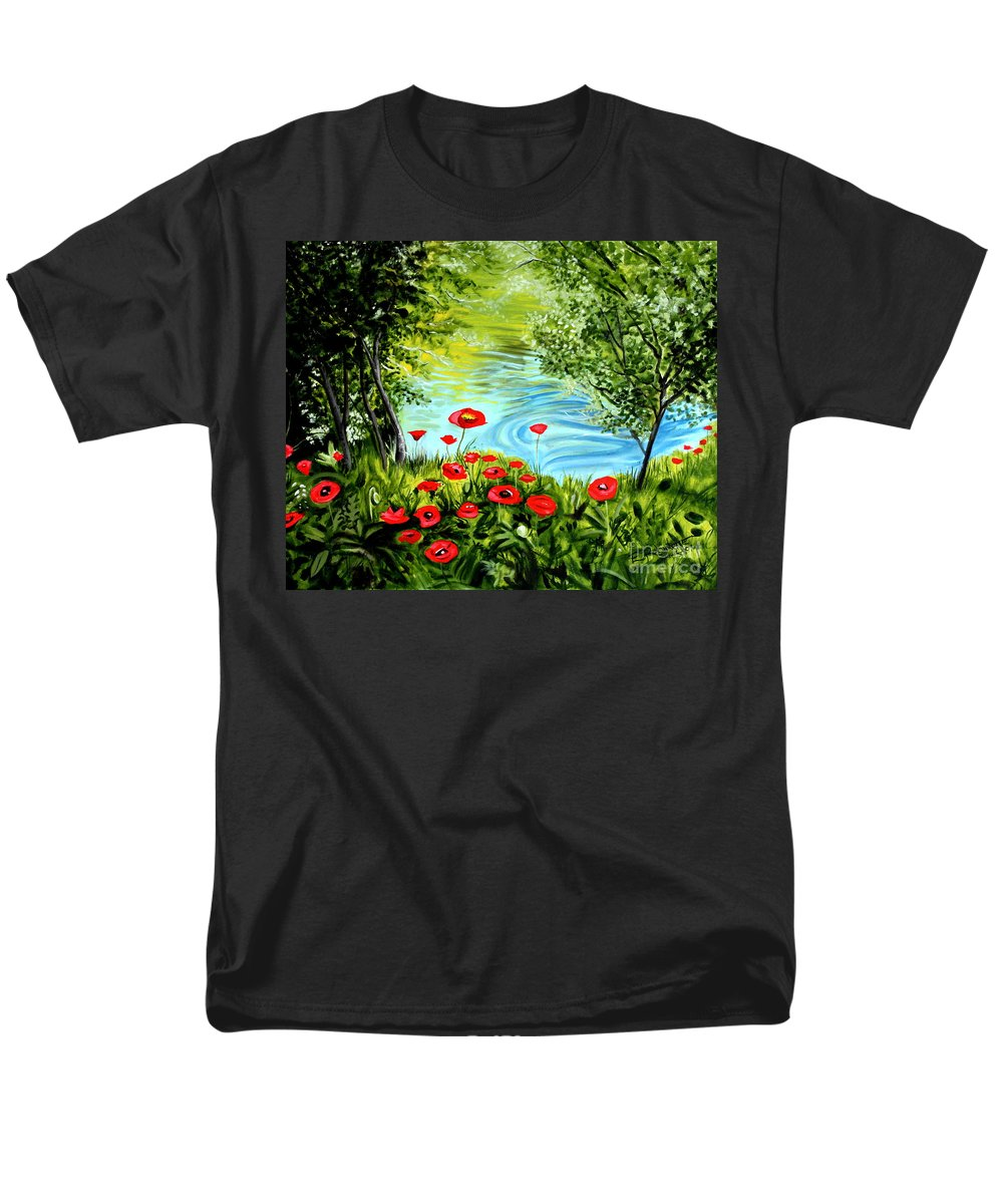 Landscape Men's T-Shirt (Regular Fit) featuring the painting Monte Rio Poppies by Elizabeth Robinette Tyndall