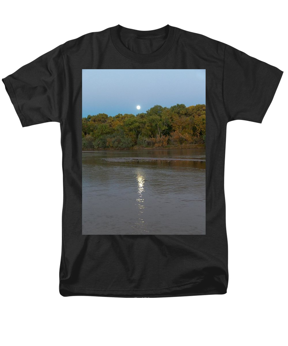 Moonlight Men's T-Shirt (Regular Fit) featuring the photograph Moonlight on the Rio Grande by Tim McCarthy