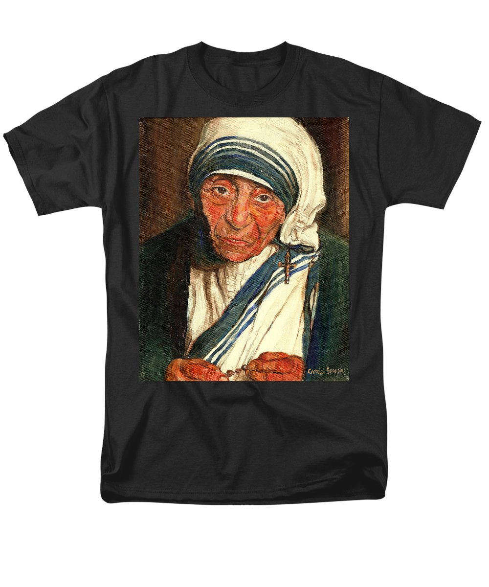 Mother Teresa Men's T-Shirt (Regular Fit) featuring the painting Mother Teresa by Carole Spandau