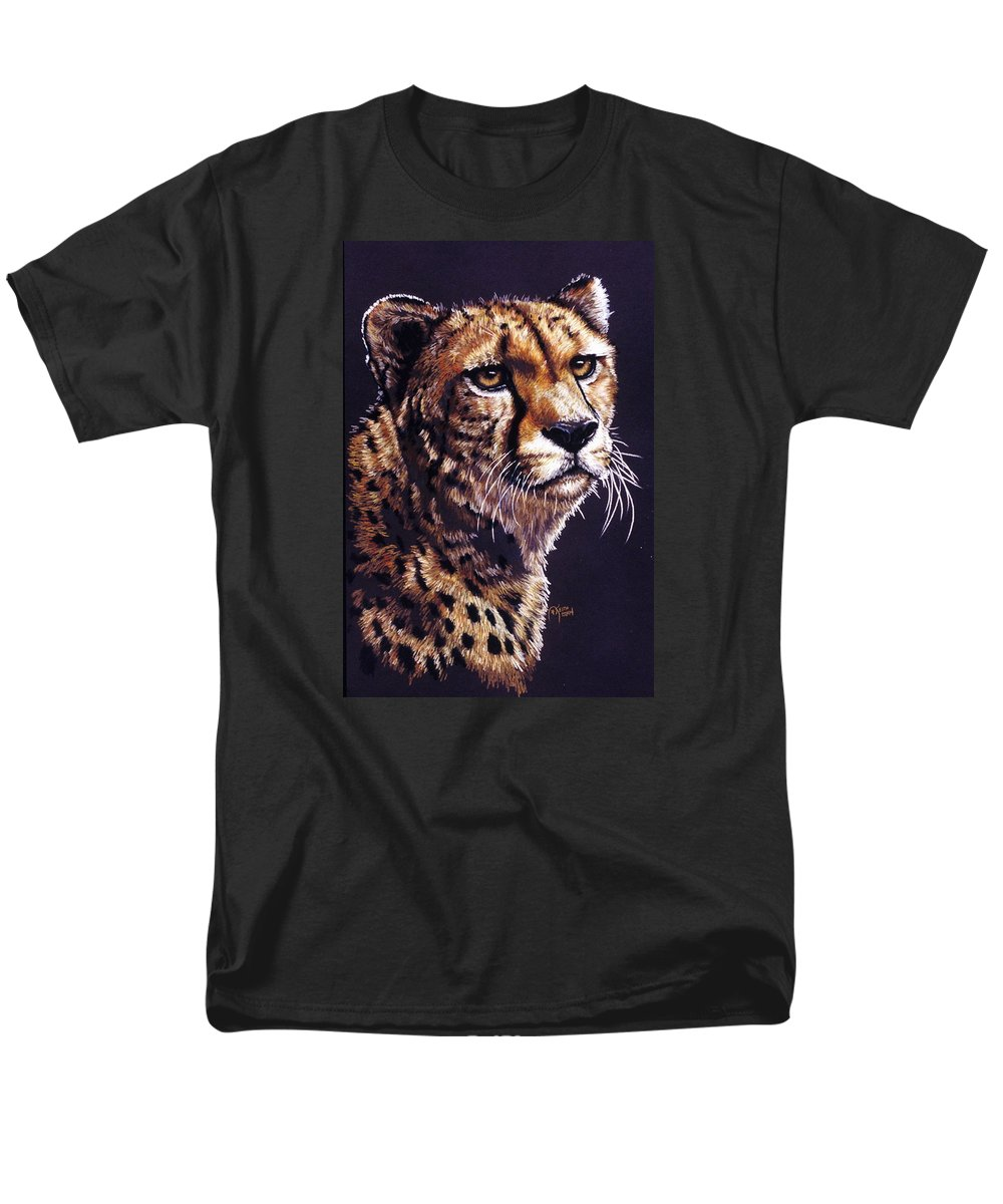 Cheetah Men's T-Shirt (Regular Fit) featuring the drawing Movin On by Barbara Keith