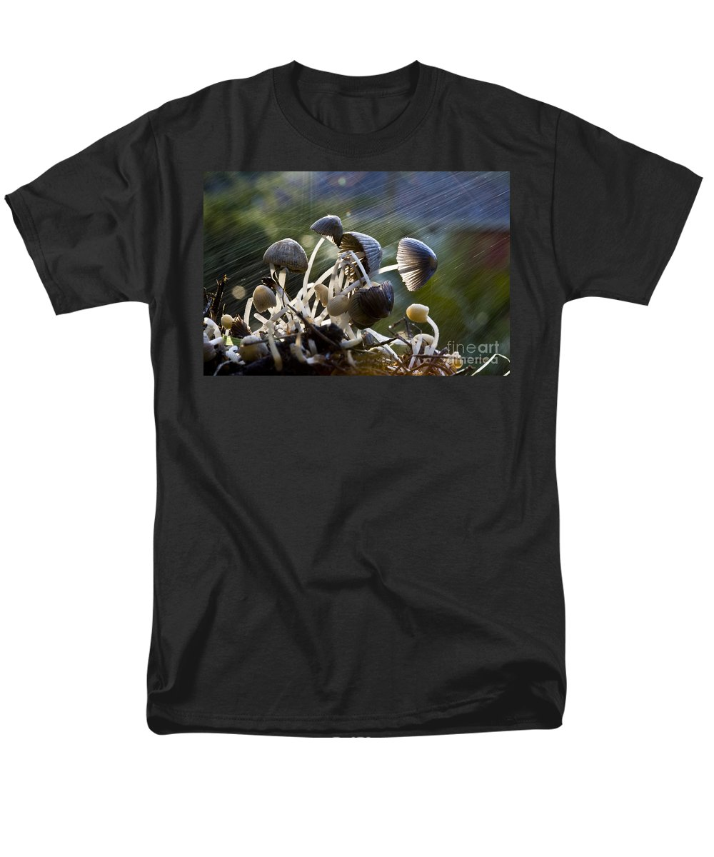 Mushrooms Rain Showers Umbrellas Nature Fungi Men's T-Shirt (Regular Fit) featuring the photograph Nature by Avalon Fine Art Photography