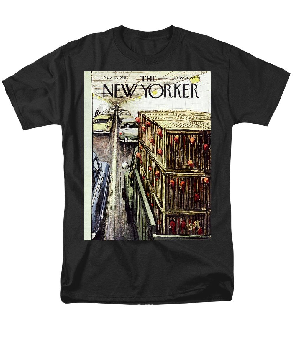 Turkeys Men's T-Shirt (Regular Fit) featuring the painting New Yorker November 17 1956 by Arthur Getz